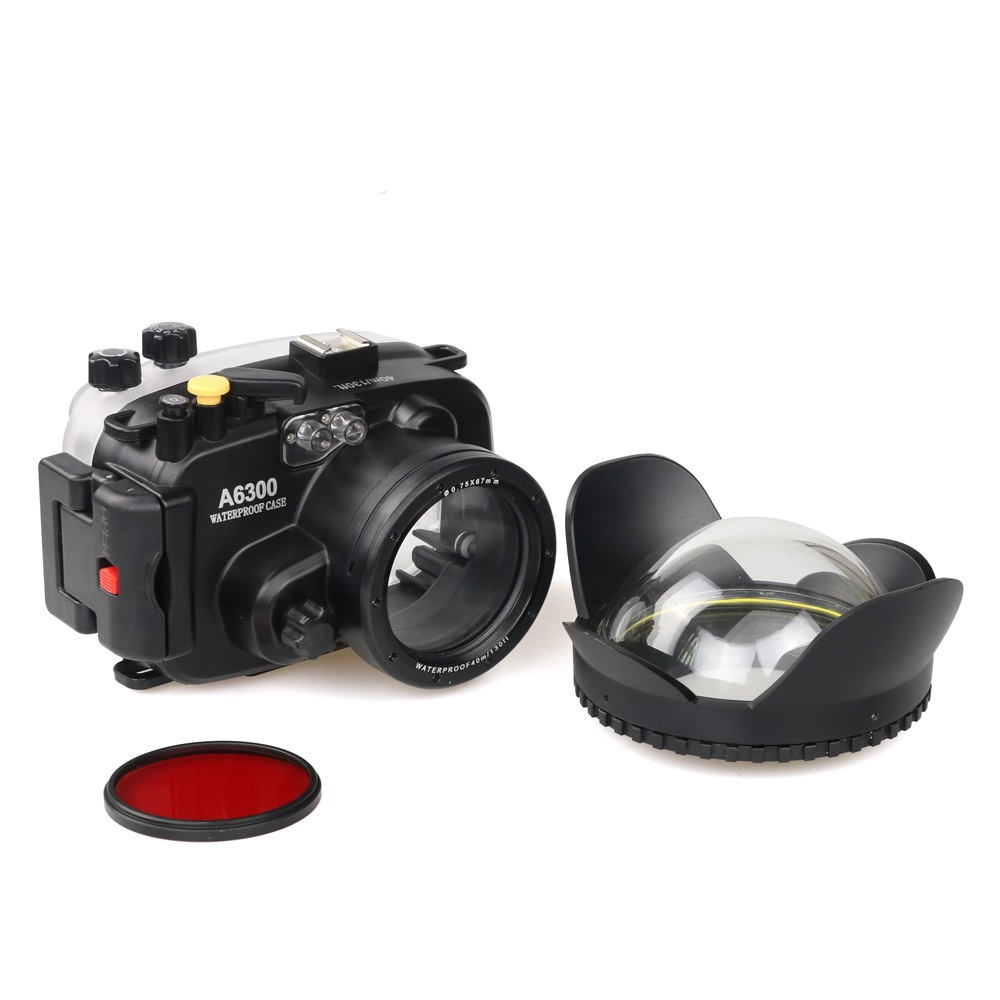 Meikon 130ft Underwater Camera Housing Case for sony A6300 Camera Wide Angle Dome Port lens 67mm