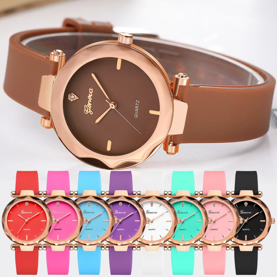 Silica Band Analog Quartz Wrist Watch Fashion Womens Ladies Watches Geneva Geneva Roman Numerals Clock 2017 fashion erkek saat quartz watch women girl roman numerals leather band wrist bracelet watches hot sale dropship relogio