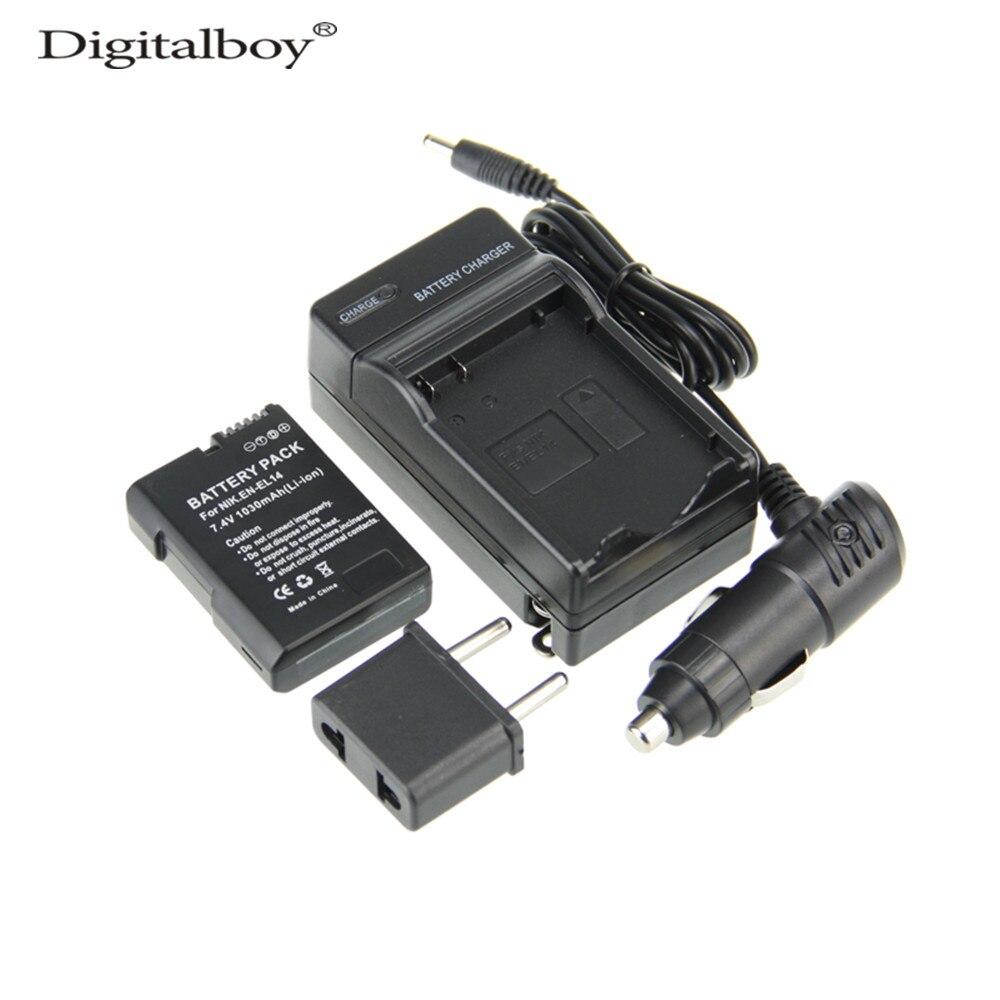 (4pcs/set) 1PCS EN-EL14 ENEL14 EN EL14 Camera Battery+Charger+Car Charger+Plug For Nikon D3100 D5100 D3200 P7000 P7100 Z1