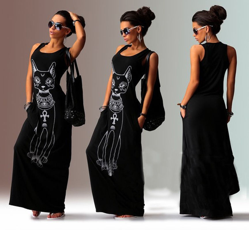 4fa64ede26a Fashion Casual Women Ladies Dresses Summer Sexy Tank Top Dress Long Maxi  Dress Ball Gown Party
