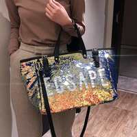 2019 New Fashion Brand Women Bag Leather Handbags With Sequined Large Shoulder Bags Casual Tote Bag Bolsa Feminina