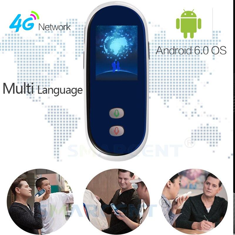 Recentes Smarcent 4g SIM Inteligente Tradutor Portátil 35 Tradutor da Língua de Tradução Em Tempo Real Tela de 2.4 polegada WIFi Android 6.0
