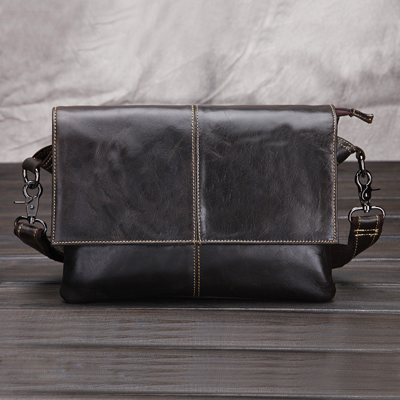fa80d9c68d70 2018 New Oil Waxed Genuine Leather Mens Crossbody Shoulder Messenger Bag  Laptop Ipad Tablet Notebook OL Zipper Business Bags