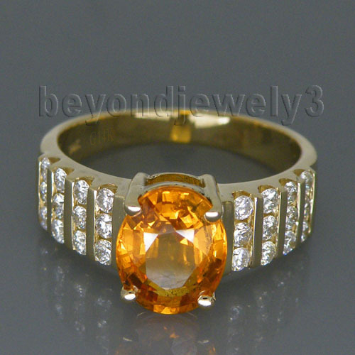 Vintage Solid 14Kt Yellow Gold Natural Yellow Sapphire Diamond Engagement Rin