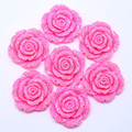 Free Shipping 42mm Resin Rhinestone Rose Flower Cabochon Beads Rose Red 50Pcs/Lot For Fashion DIY Jewelry