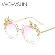 11bf306098 Newest Arrived Butterfly Round Wire Frame Coating Eyewear Transparent Vintage  Fashion Sunglasses Women Brand Designer A138