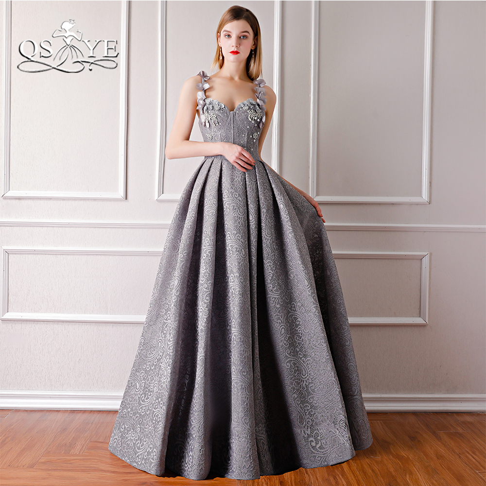 QSYYE 2018 New Gray Long   Prom     Dresses   Robe de Soiree Spaghetti Straps Sweetheart Floor Length Lace Formal Evening   Dress   Party