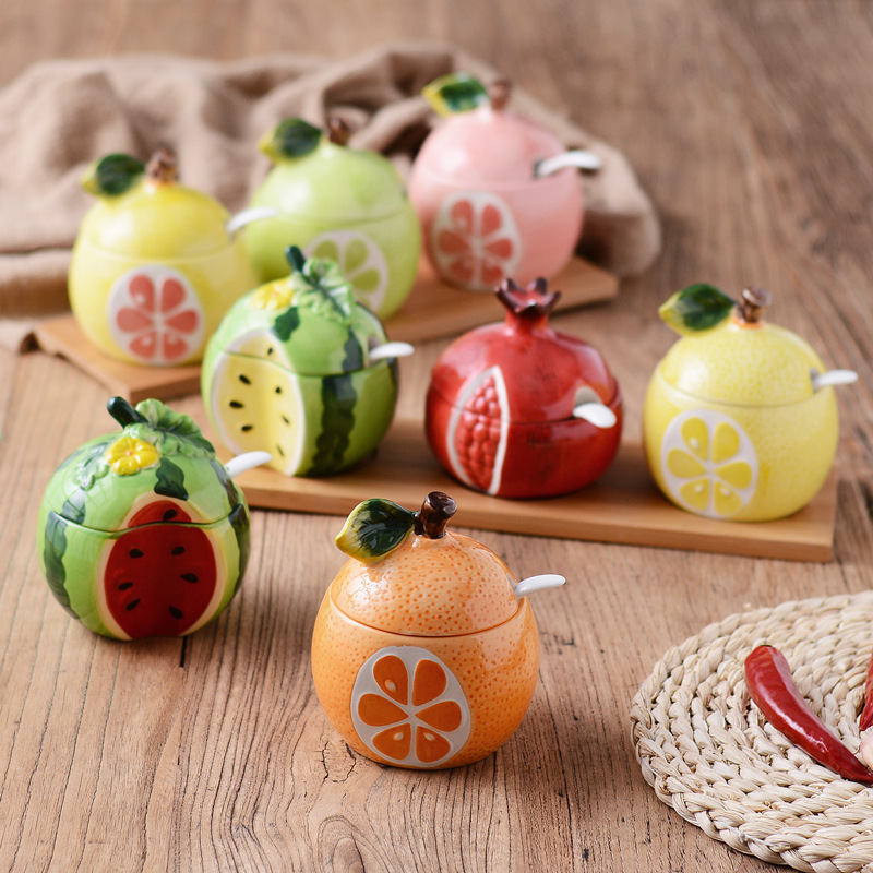 1 Pcs Cute Fruit Pomegranate Shape Condiment Bottle Creative Ceramic Seasoning Bottle Jar with Cover Spoon Flavouring Container