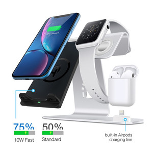 Image 3 - 3 in 1 Wireless Charging Station Phone Holder Qi Fast Wireless Charger Base For iPhone 8 X Samsung Galaxy S6 S7 S8 Apple i Watch
