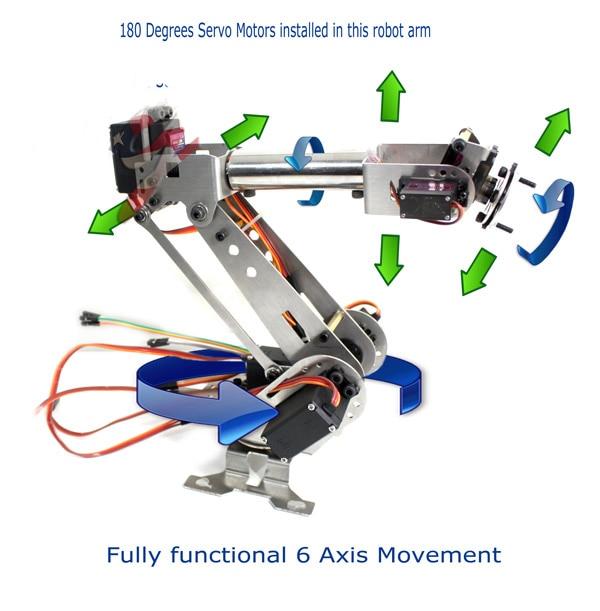 6DOF bras robotique acier inoxydable 6 axes pince rotative mécanique pour Arduino framboise - 3