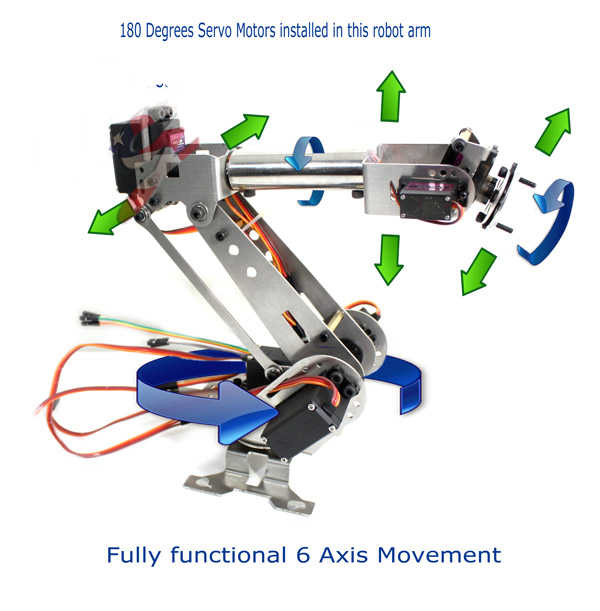 SNA900 6DOF robotic Arm stainless steel 6 Axis Clamp Rotating Mechanical  for Arduino Raspberry