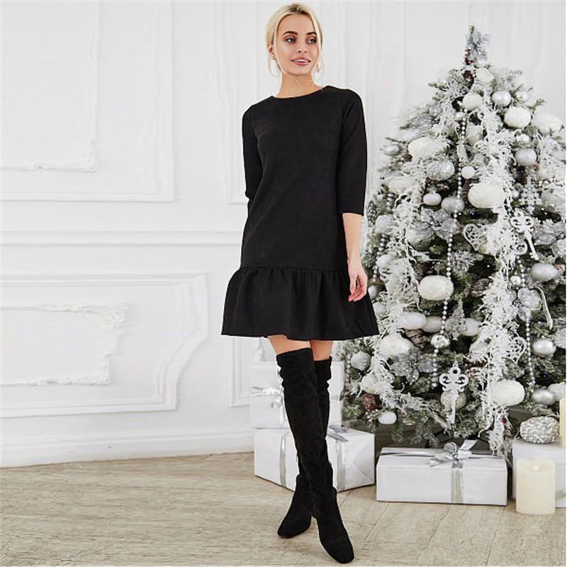 Fall 2018 Women Suede Casual Three Quarter Sleeve T Shirt Mini Dress Autumn Winter Fashion Vintage Ruffle Christmas Dresses 4
