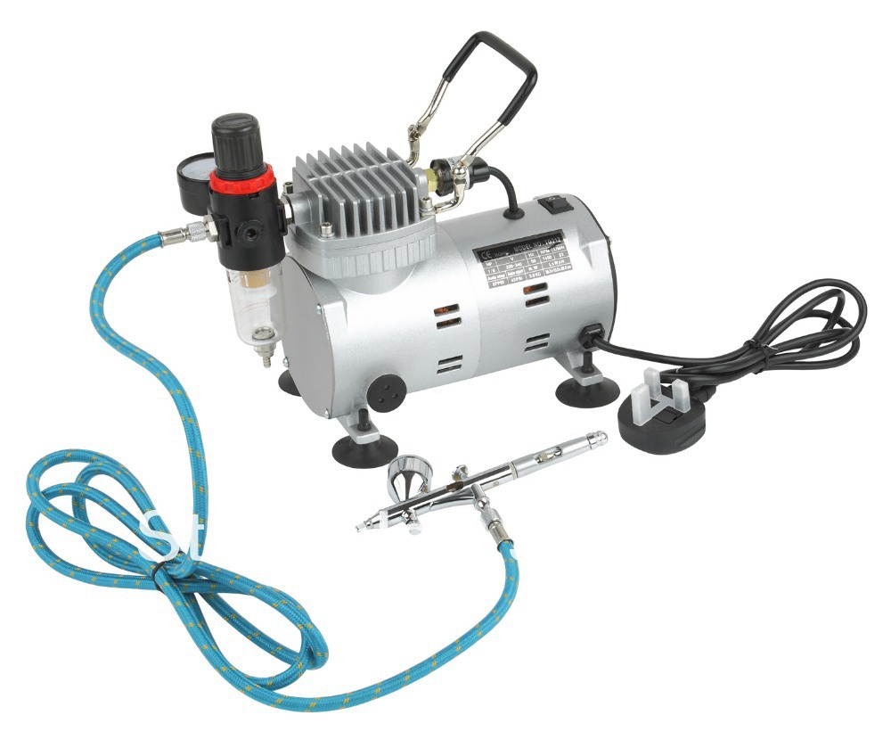 Brand New Airbrush Kit: 1pc 1/6HP Air Compressor with Regulator+ 1pc Dual Action Airbrush (9cc Cup) + 1pc 3m Length Air Hose kit engineering pneumatic air driven mixer motor 0 6hp 1400rpm 16mm od shaft