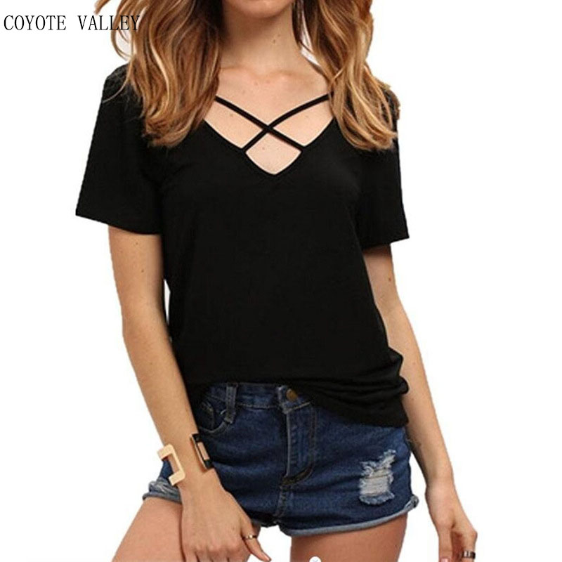 COYOTE VALLEY 2017 hot style cross with irregular deep v-neck loose quality king queen BTS multicolor vogue female T-shirt coat
