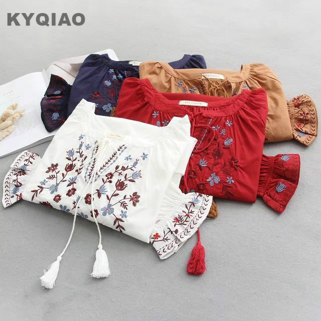 KYQIAO Bohemian blouse 2018 women pullover female spring autumn Spain style boho ethnic flare sleeve embroidery shirt blusa top