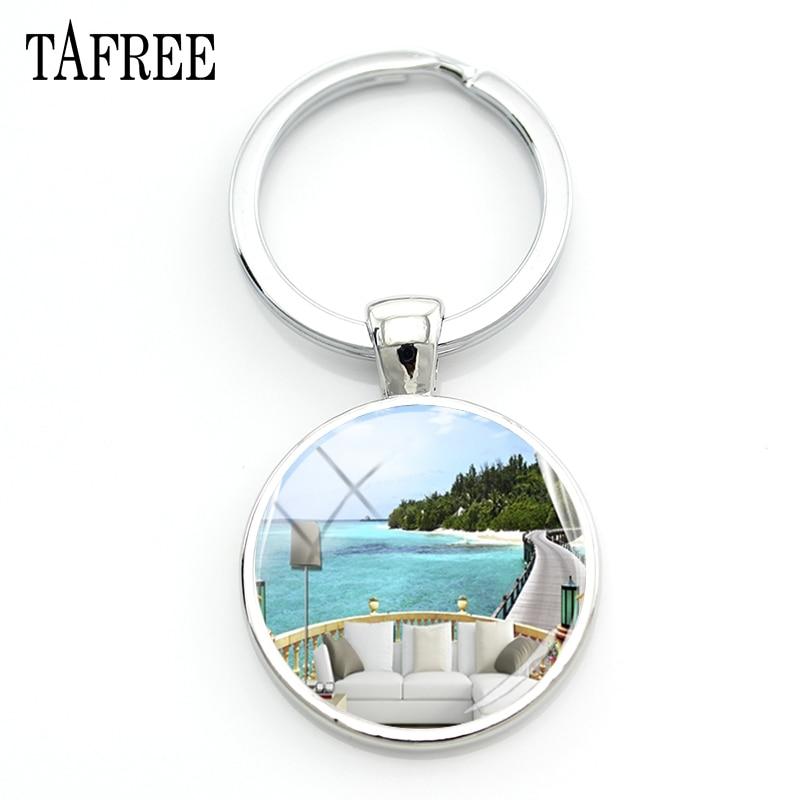Us 0 78 51 Off Tafree Maldives Scenery Keychain Beautiful Landscape Art Picture Key Chain Sunny Beach High Quality Jewelry Fa719 In