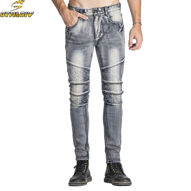 Nuevo llega 2018 Pantalones Jeans de motociclista plisado de los - Ropa de hombre