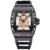 Skone mens esquelético luminoso impermeable relojes de cuarzo con correa de silicona estrellas reloj militar para hombre de oro rosa