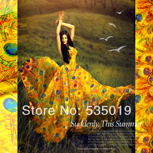 Fashion Printed silk chiffon fabric for one-piece dress peacock printed yellow Feather 100% silk fabric wholesale and retail