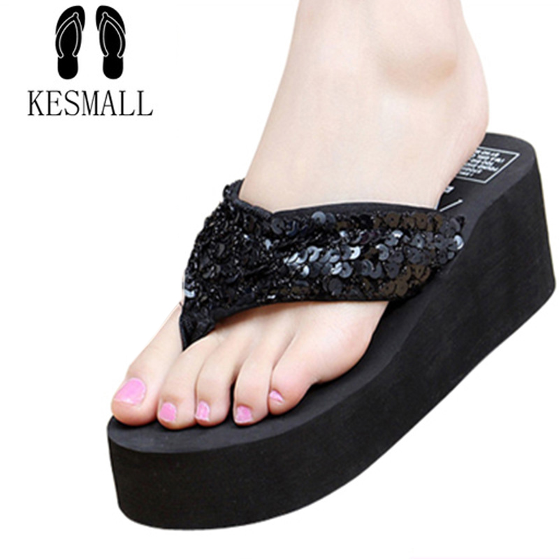 KESMALL Summer Non-Slip Bling Sandals Female Slippers For Women Flip-Flop Sandals Platform Indoor Flip Flops Sandals WS86 fashionable women s sandals with flip flop and beading design