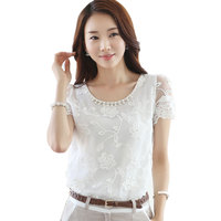 2015 Elegant White Chiffon Lace Blouses Women Summer Tops Beading Mesh Organza Embroidered Lace Shirt Short