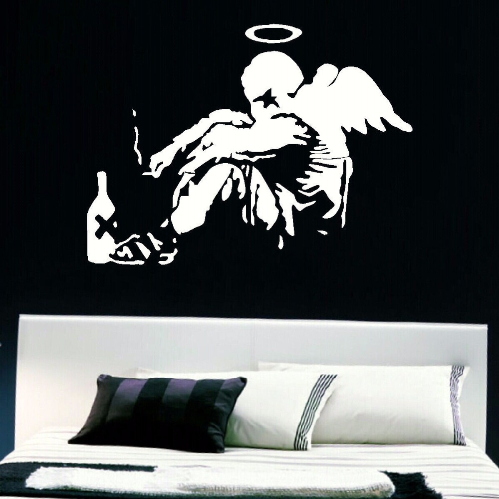 online get cheap mural banksy large aliexpress com alibaba group large banksy fallen angel bedroom giant vinyl wall art mural sticker transfer decal door window stencil mural