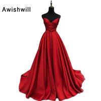 Real Photo Court Train A line Vintage Evening Dresses 2018 V Neck Sleeveless Satin Long Formal Dresses Gowns Red Carpet Dress