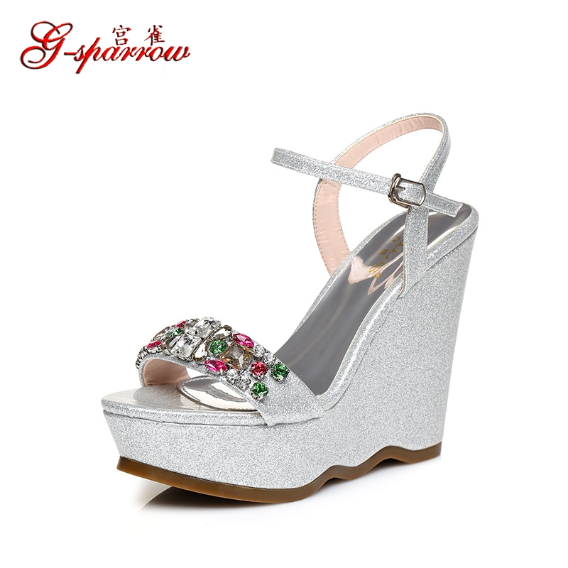 2017 new womens summer high heeled shoes wedge high heels sandals 12cm silver pumps for wedding gold