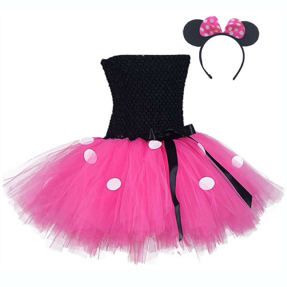 Black Top Rose Red Tulle Tutu Mini Mickey Dress with White Dots Knee Length Pettigirl Dress for Halloween Outfits Kids Clothes (1)