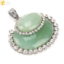 CSJA Spring OL Elegant Women Jewelry 2 Size Egg Shape Overlap Real Natural Stone with Zircon Beads Border Pendant Necklace E488(China)