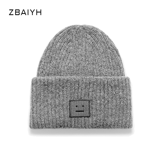 New Brand Knitted Skullies Women Winter Hats gorro masculino Beanies Caps Balaclava Bone Bonnet Square Smiling Face Label touca