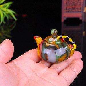 Image 5 - שינג יאנג גובי ירקן צבעוני אגת יד מגולף דבר משחק קסם סיר אוסף קישוט מתנה Dropship