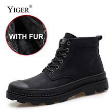 YIGER New Man Martins boots Genuine Leather lace-up Work Military winter warm with fur male Black army Boots 096