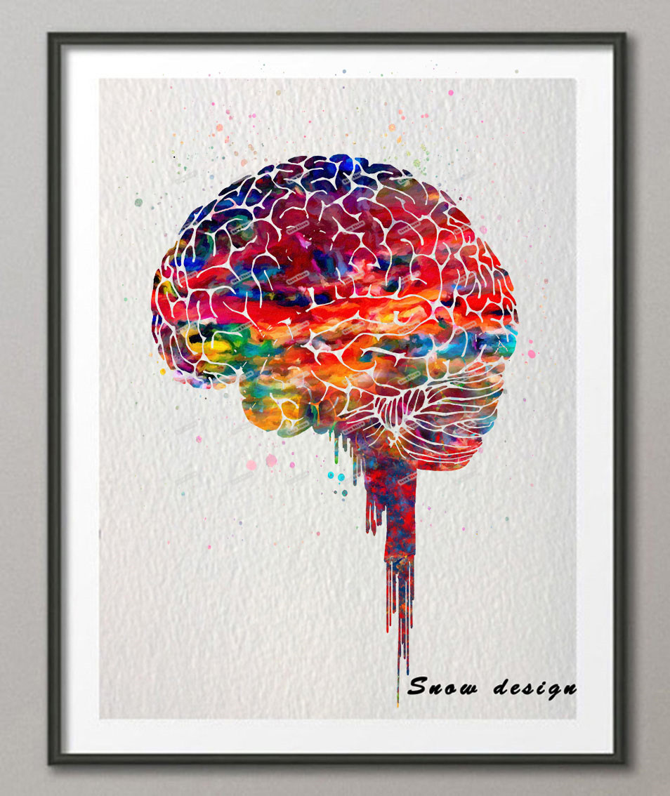 original watercolor brain poster print canvas painting anatomy medical wall art picture living. Black Bedroom Furniture Sets. Home Design Ideas