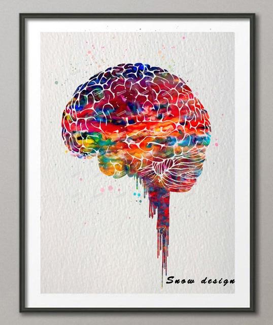 Original Watercolor Brain Poster Print Canvas Painting