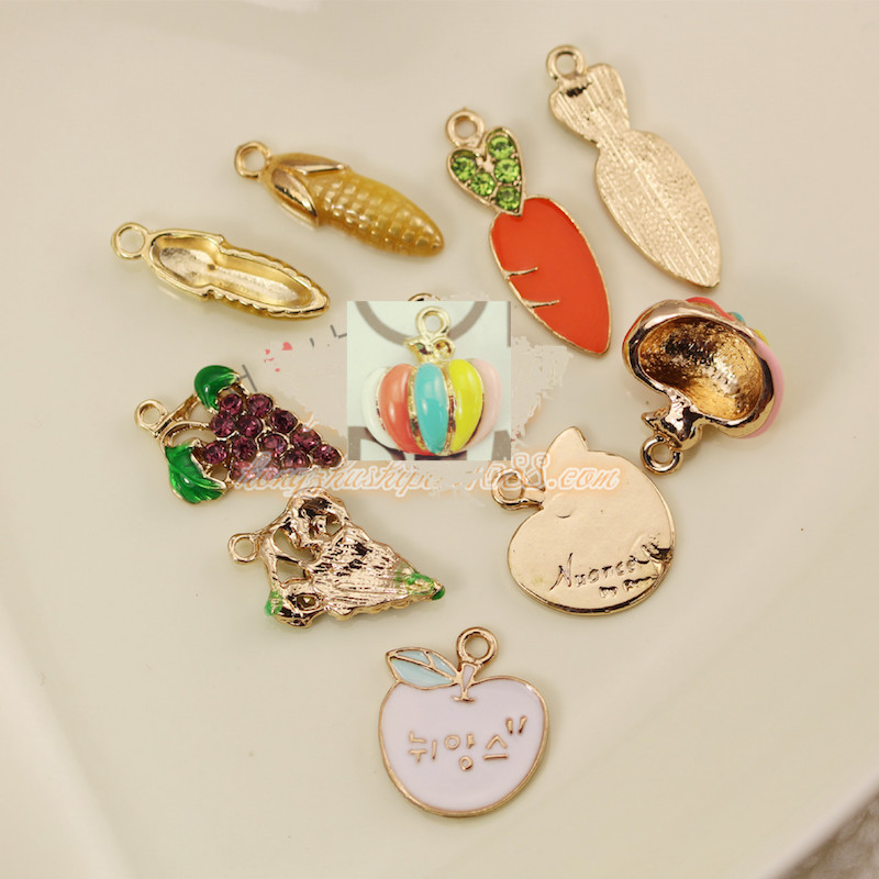 10pcs/lot grape apple carrot corn pumpkin pendant alloy enamel Charm DIY accessories of necklace bracelet headdress fitting