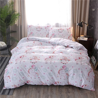 Unicorn Polyester Cotton Bedding Sets Queen King Size Cartoon Black White Duvet Cover Quilt Cover Pillowcase 2PCS/3PCS Bed Linen