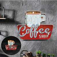 New LED Neon Signs For Bar Pub Cafe Coffee Shop Kitchen Vintage Home Decor Wall Sticker Poster Painting Light Metal Plaque
