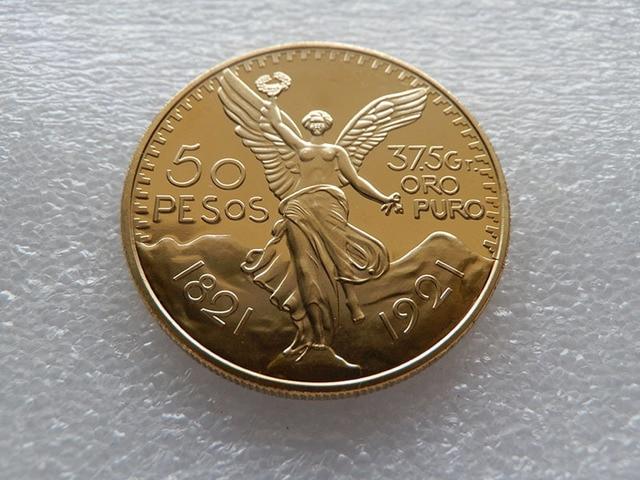 1921 Mascot mexico snake 50pesos gold Replica Gold Clad Coin