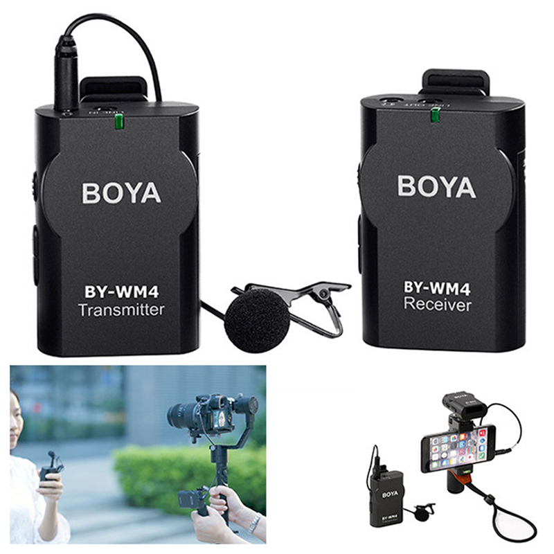 Wireless Microphone System Boya BY WM4 Lavalier Lapel Mic for iPhone 6 for Canon Nikon Sony DSLR Camcorder Recorder