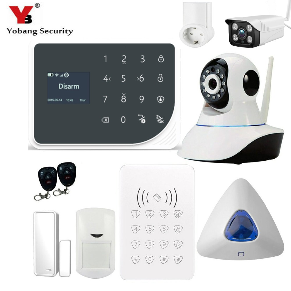 YoBang Security WIFI GSM Burglar Alarm System Touch Keyboard Indoor Outdoor Video IP Camera Smart Socket Protection Household