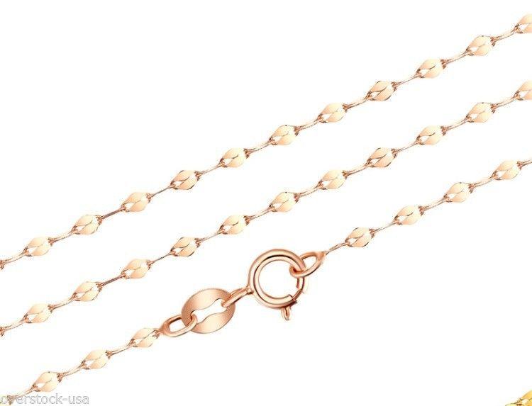 FINE 17INCH 18K Rose Gold Necklace Special Link Chain Necklace / 1.1gFINE 17INCH 18K Rose Gold Necklace Special Link Chain Necklace / 1.1g