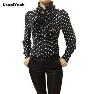 Image 2 - New  Hot Fashion Korea Style Vintage Chiffon Polka Dots Womens Body Blouse Tops Shirt Stand Collar Ruffles S M L XL SY0185