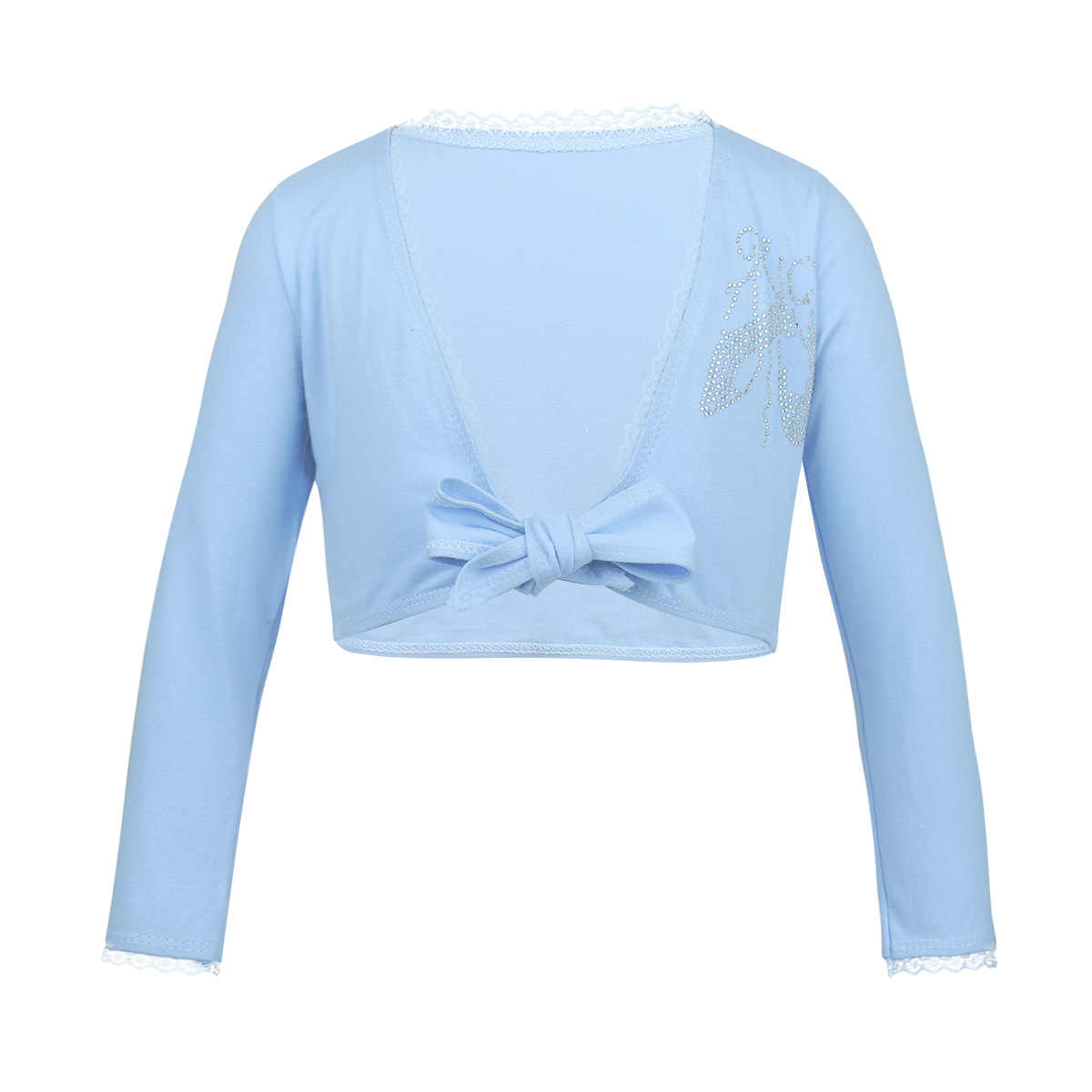 1dfddf74a ... Girls Long Sleeve Dance Costume Crop Tops Girl Bow Lace Ballet Leotard  Shrug Wrap Top Cardigan ...