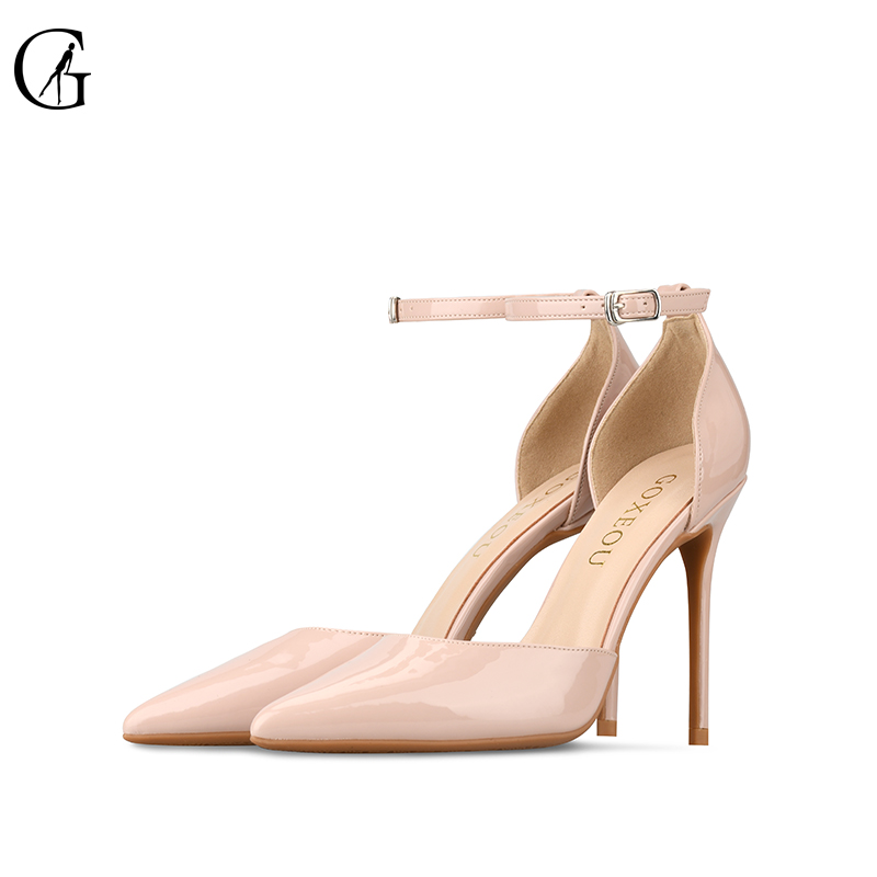 GOXEOU 2019 Women Shoes Thin Heel High Heels Sexy Pointed Toe 4 color Lace up Wedding