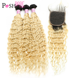 POSH BABE 1B 613 Blonde Ombre Deep Wave Bundles with Closure 8 - 30 Inch Brazilian Remy Hair 2 3 4 Bundles with 4x4 Lace Closure(China)