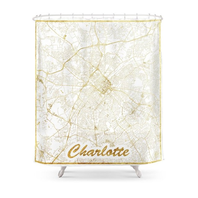 Charlotte Map Gold Shower Curtain Custom For Bathroom Waterproof Polyester