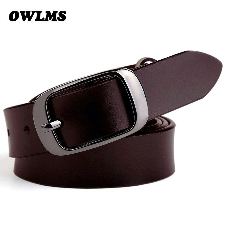 Nuevo para las mujeres cinto Jean lujo cinta ceinture Femme Cinturones Mujer correa de cuero genuina cintos vaca negro hebilla