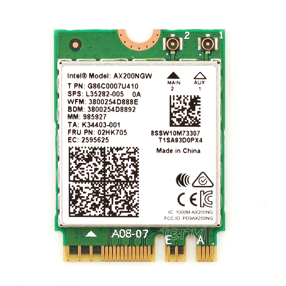 Image 2 - Dual band 802.11ax For WIfi 6  Intel AX200 NGFF Wifi Wireless Card AX200NGW MU MIMO 5Ghz Up to 2.4Gbps Wifi+BT 5.0 With Antennas-in Network Cards from Computer & Office