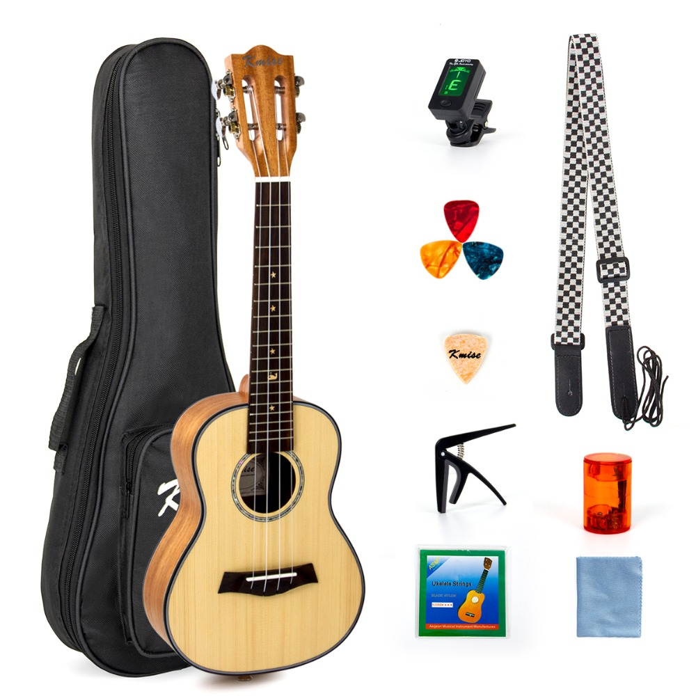 Kmise Concert Ukulele Solid Spruce Classical Guitar Head Ukelele 23 inch Uke Beginner Kit with Gig Bag Tuner Strap String Picks-in Ukulele from Sports & Entertainment    1